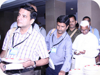 India Against Corruption - Gen Sec. C.J. Karira with Anna Hazare at CIC RTI Convention 2006